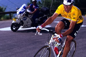 MIGUEL INDURAIN attack in the Pyrenees, accelerating at the foot of a 10 km climb